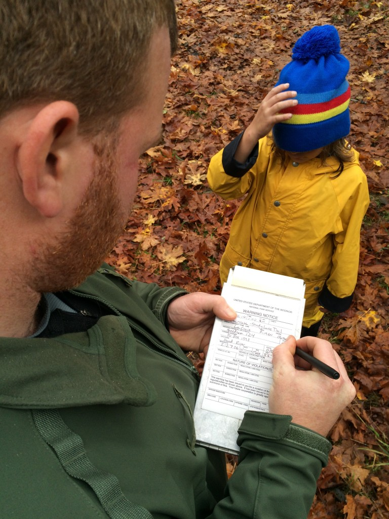 Parker gets a ticket for running too fast in Olympic National Park. (It's a joke.)