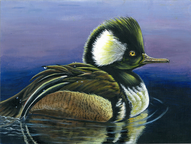 The third-place winner was Jiahe Qu, 15, of Chandler, Ariz., for an acrylic painting of a hooded merganser.