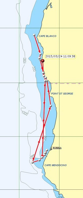 K-pod and L-pod whales cross California border before turning back this week. NOAA map