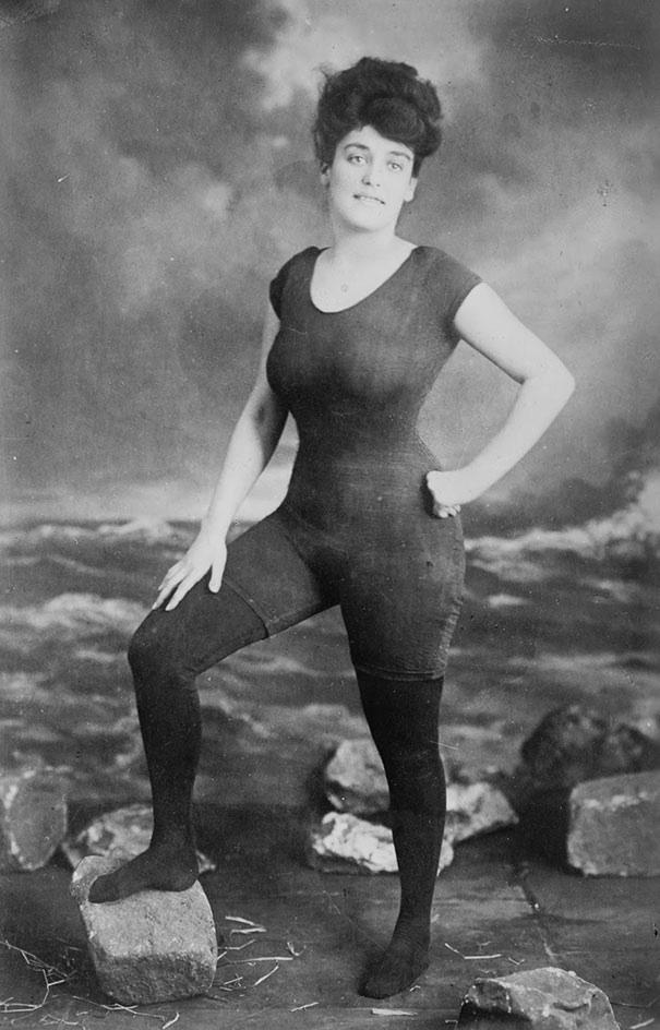 Annette Kellerman in her scandalous one-piece bathing suit.