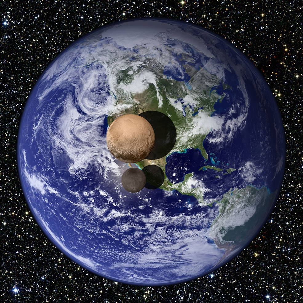 Pluto and its largest moon, Charon, shown just above the Earth's surface in this graphic. Graphic: John Hopkins University APL