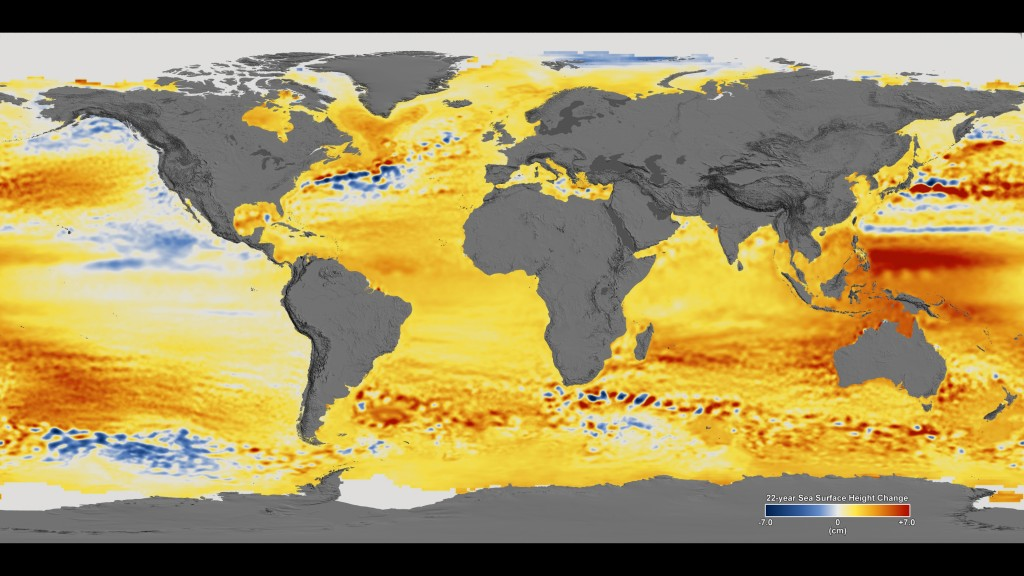 Sea level change over 22 years. Map: NASA