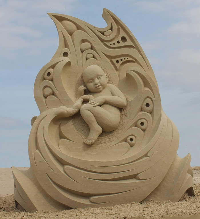 """Life"" (side 1) by Karen Fralich took first place at the Hampton Beach Master Sand Sculpting Competiton in June. Photo: Hampton Beach Village District"