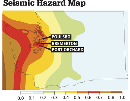 Hazard maps are used by structural engineers to design building to withstand shaking. This map depicts maximum ground acceleration (measured in gravitational pull) predicted in a rare earthquake with a 2 percent chance of occurring in the next 50 years. Hazard maps of more likely earthquakes are similar but with less emphasis on the Seattle and subduction fault zones. Kitsap Sun graphic