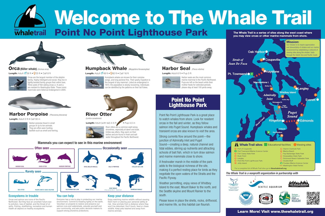 A new signs welcomes whale watchers to Point No Point Lighthouse Park. Photo: The Whale Trail