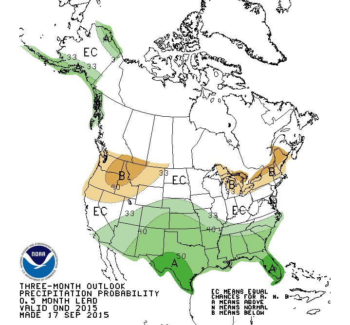 Precipitation is predicted to be less than normal in the Pacific Northwest. NOAA graphic