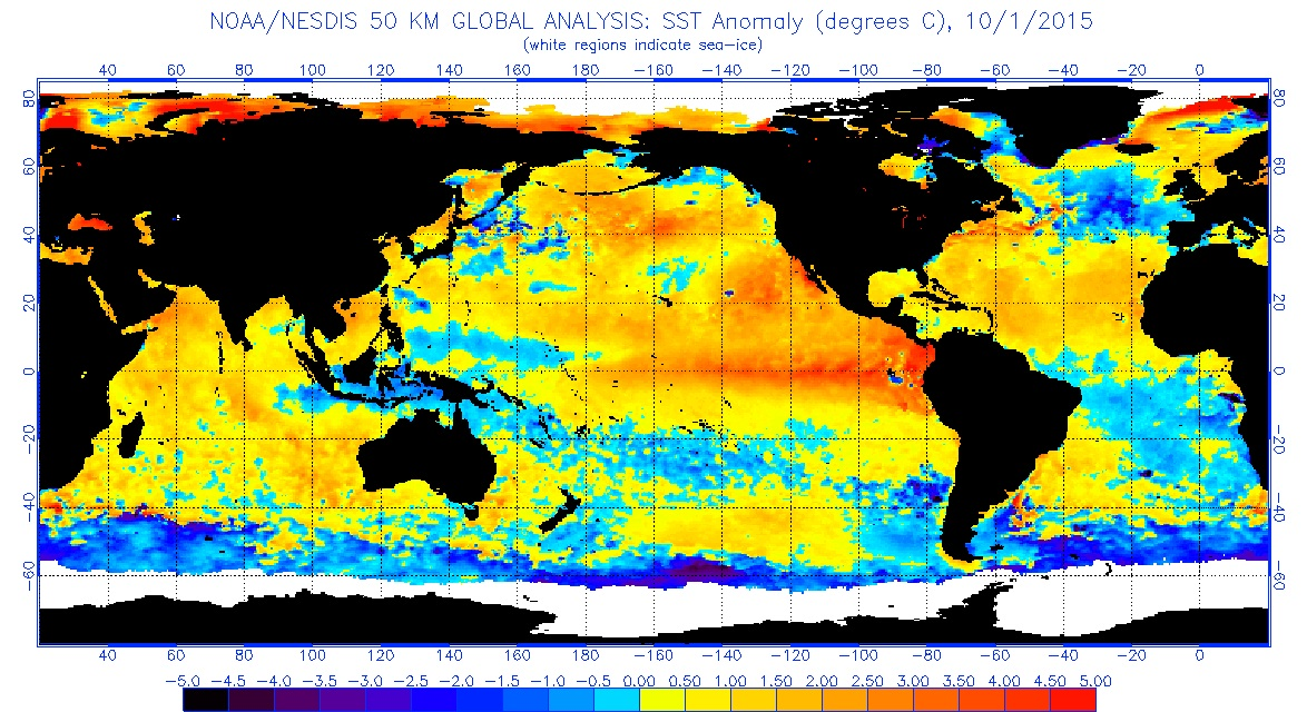 Sea surface temperatures are above average across most of the Pacific Ocean. NOAA map
