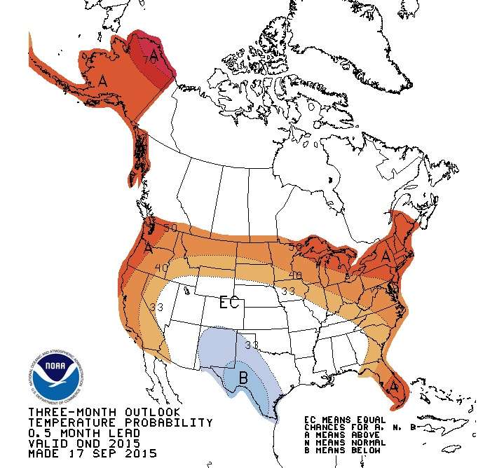 Temperatures are predicted to be warmer this winter across the northern states. NOAA graphic