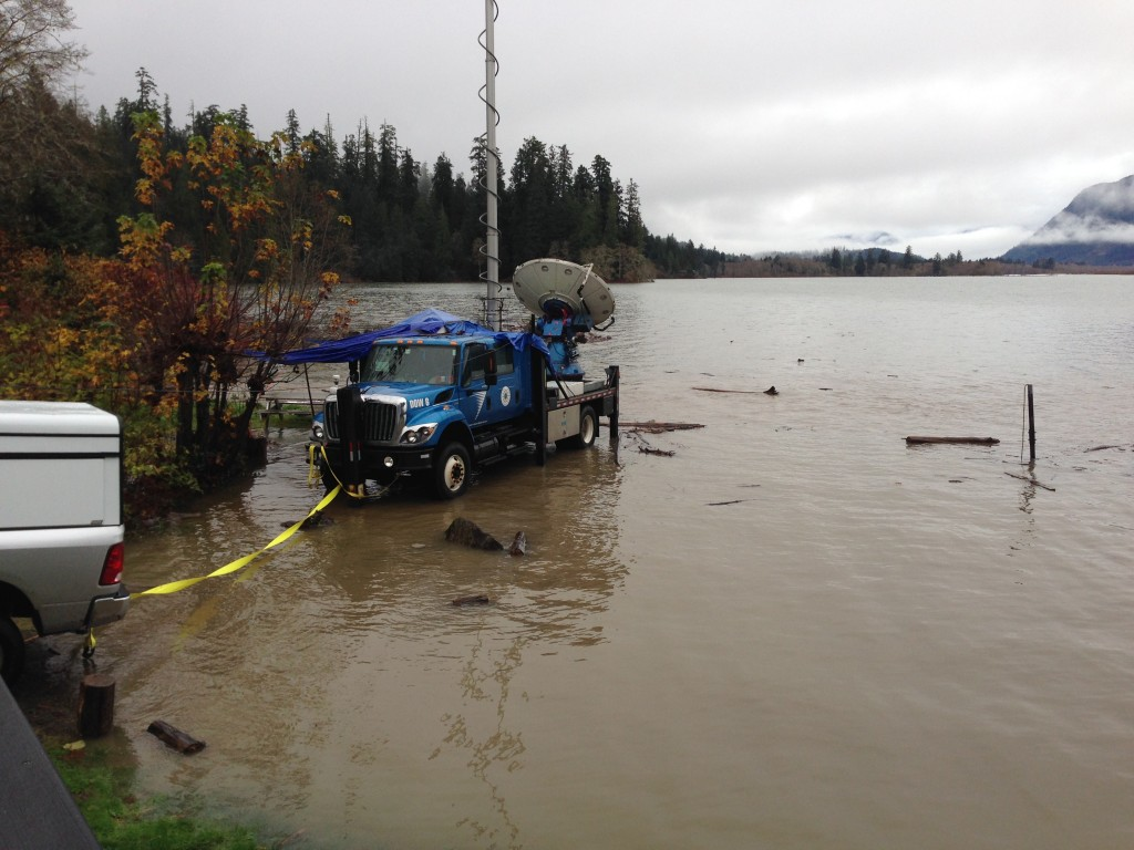 Heavy rains arrived, raising the waters of Lake Quinault and nearly flooding the equipment.