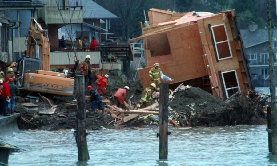 A 1997 landslide on Bainbridge Island killed a family of four and resulted in five homes being condemned for safety reasons. Landslides can be expected to increase in the future because of changes in precipitation patterns. Kitsap Sun file photo