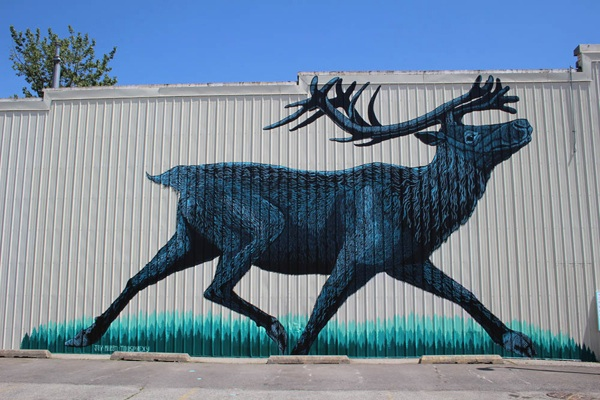 Mountain caribou mural in Sandpoint, Idaho