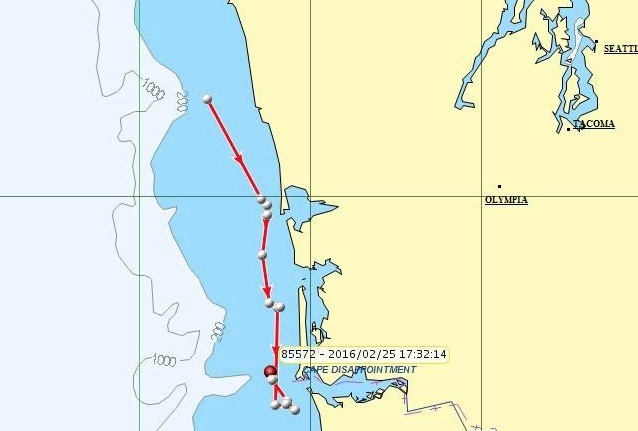 On Tuesday to Thursday, tagged orca L-95 and other members of K and L pods moved south to the Columbia River. NOAA map