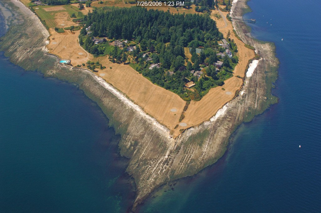 Restoration Point on Bainbridge Island was lifted more than 20 feet by an earthquake on the Seattle fault. Photo: Washington Department of Ecology