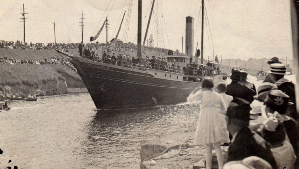 "The SS Roosevelt, owned by the Bureau of Fisheries, was the first ""official"" ship to pass through the Ballard Locks on July 4, 1917, leading a parade of 80 boats. Photo: Army Corps of Engineers"