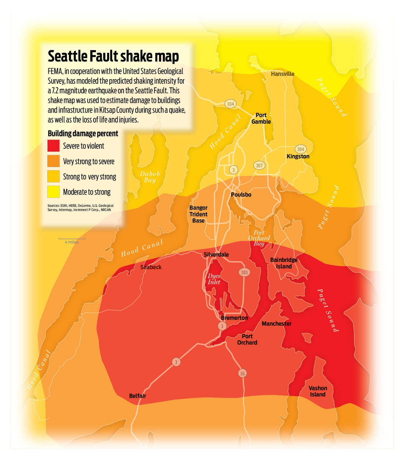 Shake map for Kitsap County (click to enlarge)