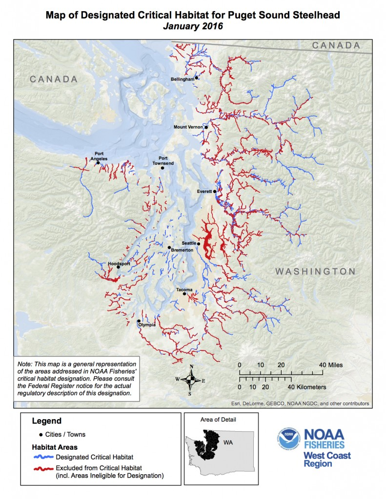 Critical habitat for steelhead (click to enlarge)NOAA map