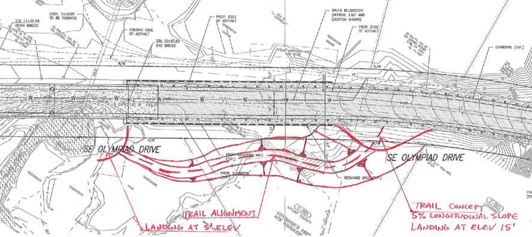 Not yet approved, this rough drawing shows how a trail alongside Olympiad Drive could be used to reach Harper Estuary. Drawing: Kitsap County Public Works