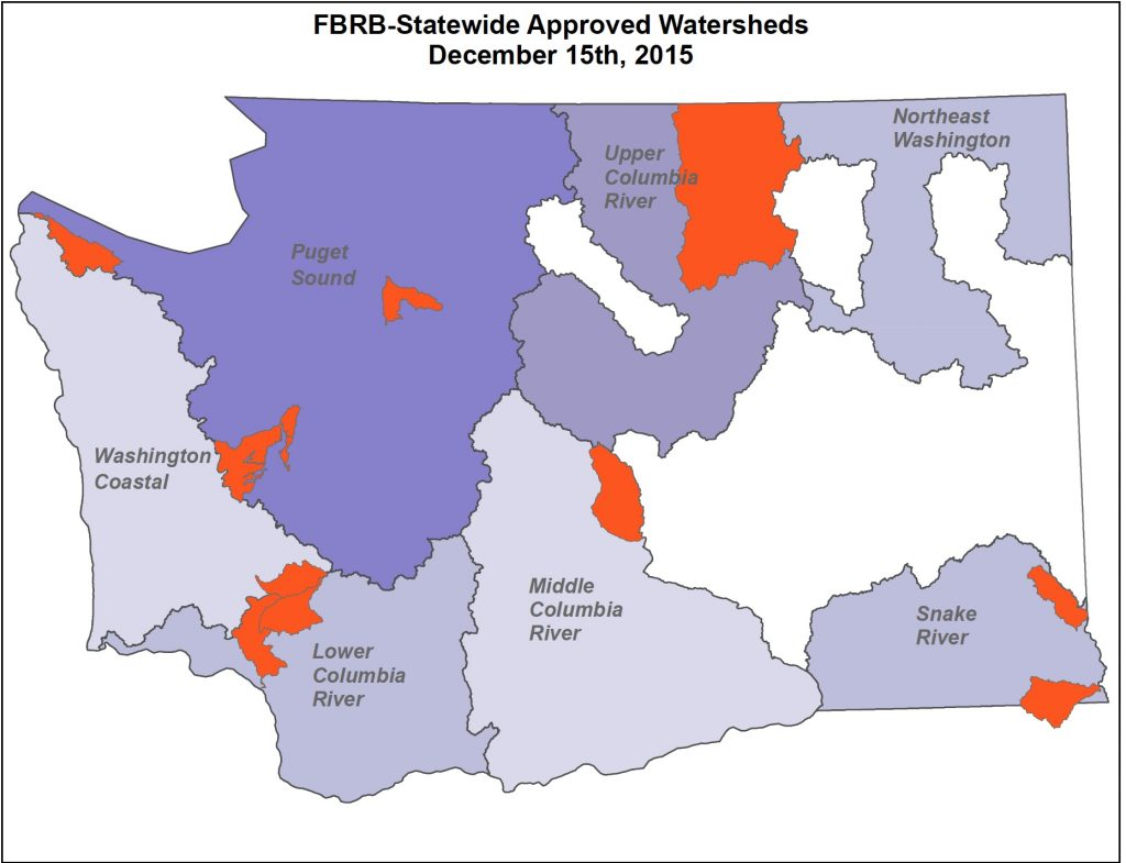 Priority watersheds chosen by the Fish Barrier Removal Board. Puget Sound: Pilchuck Creek, Pysht River, Goldsborough Creek; Coast: Newaukum; Lower Columbia: Lower Cowlitz; Yakima River: Wilson/Cherry; Snake River: Grande Ronde Tribs, Snake River Tribs; Upper Columbia: Okanogan.