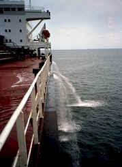 Ballast discharge from a ship Photo: Coast Guard