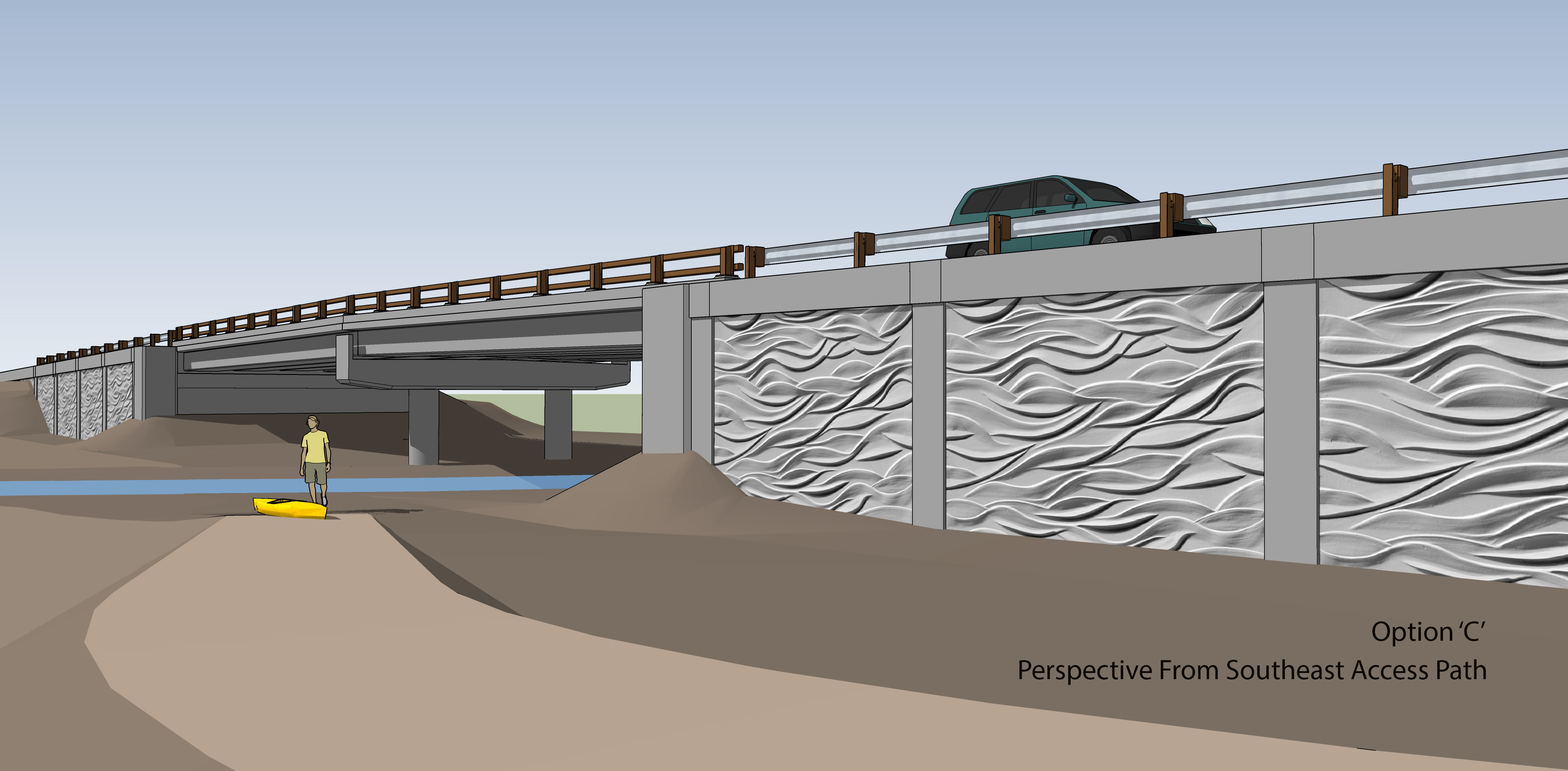 A new Harper Estuary bridge is being planned with a trail to the water. Graphic: Kitsap County Public Works