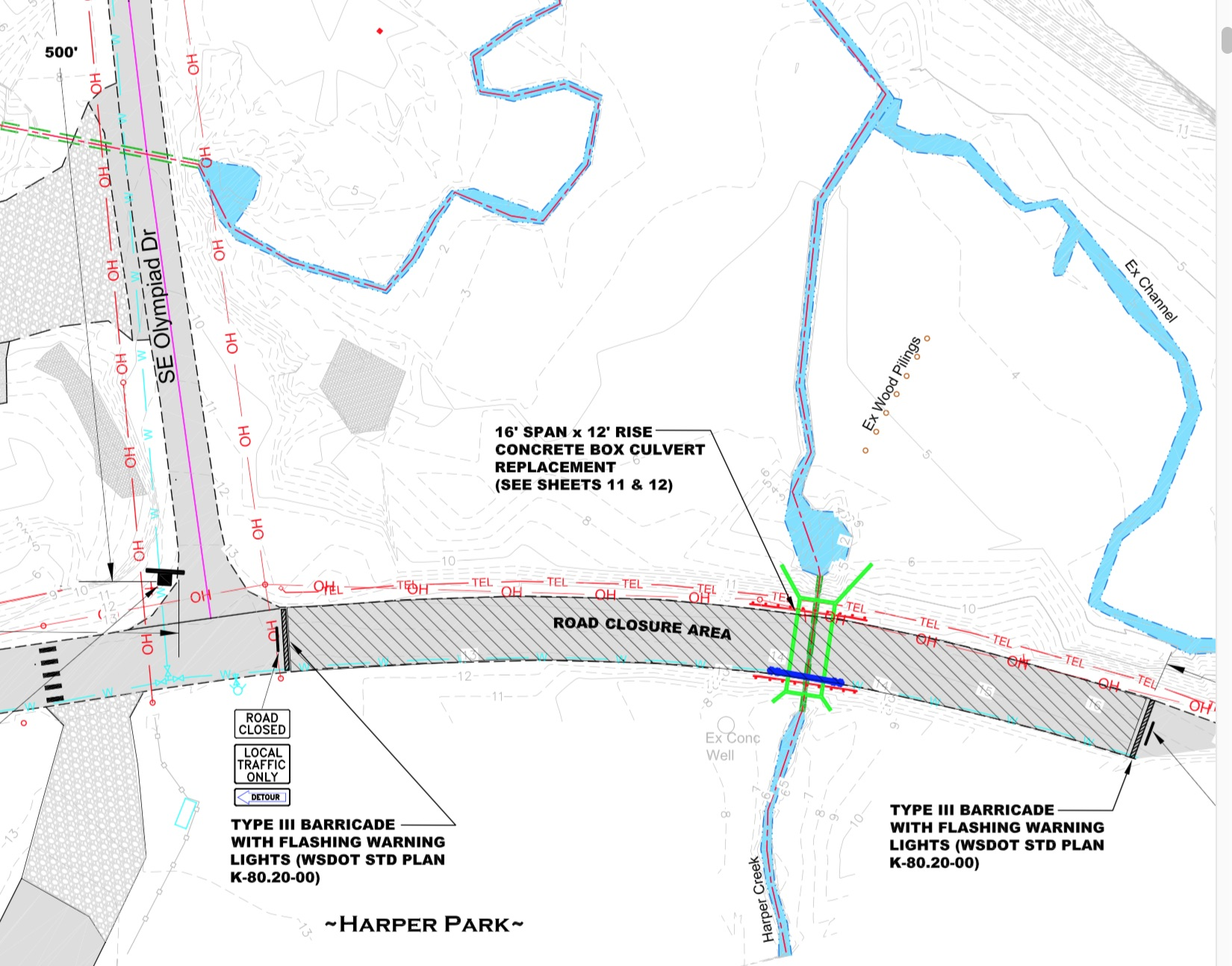 A larger culvert will carry Harper Creek under Southworth Drive. Graphic: Kitsap County Public Works