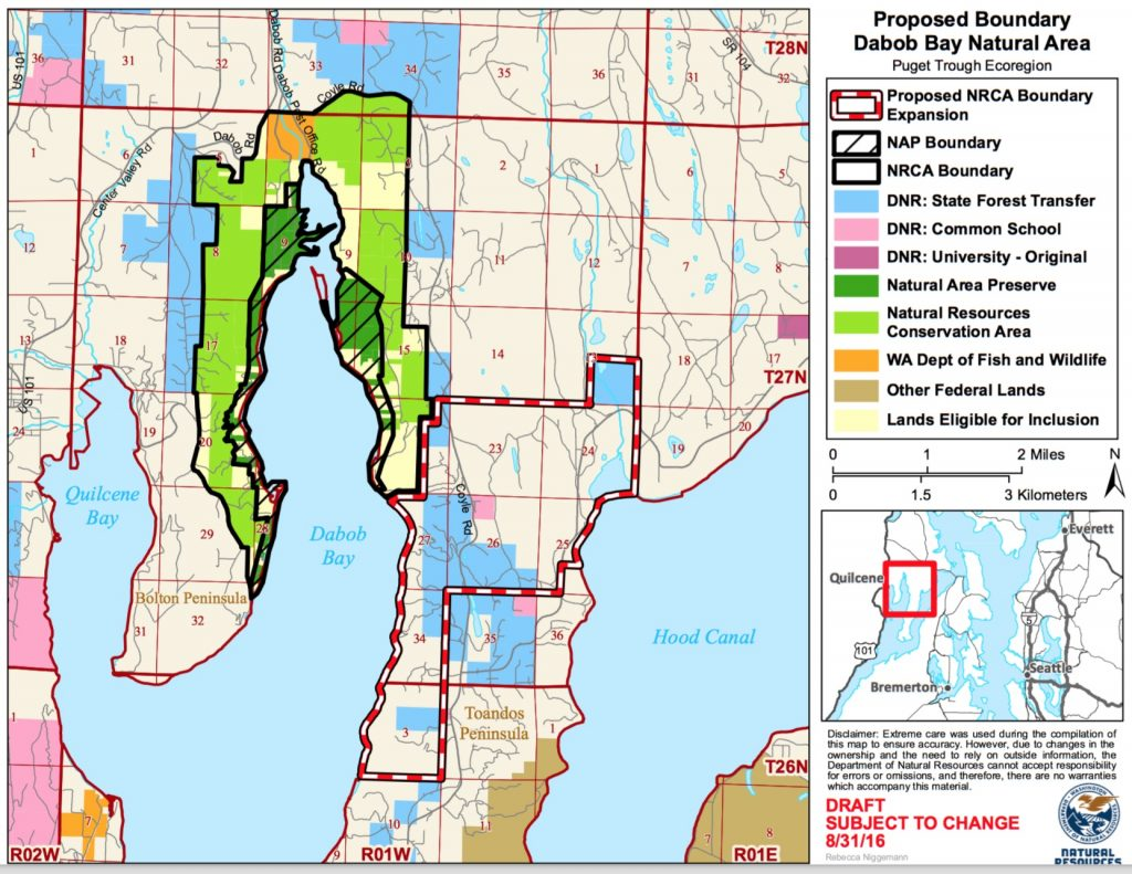 Proposed expansion of Dabob Bay Natural Resources Conservation Area. Map: DNR