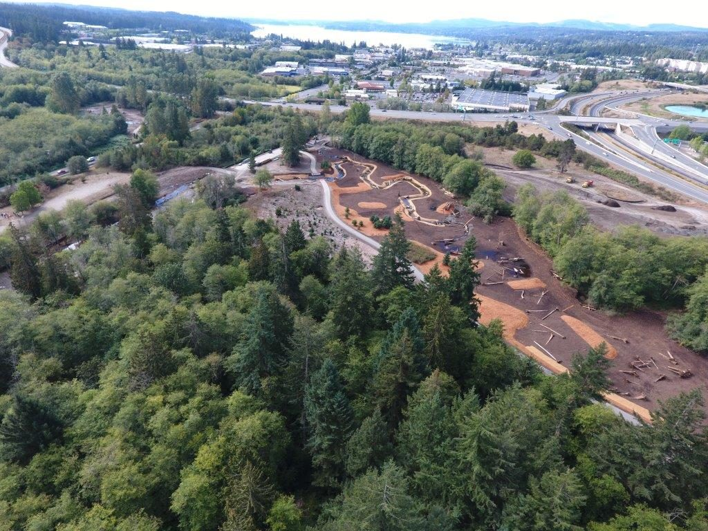Aerial photo showing project area with Silverdale in the background, Silverdale Way to the left and Highway 3 to the right. Photo: Kitsap County Public Works