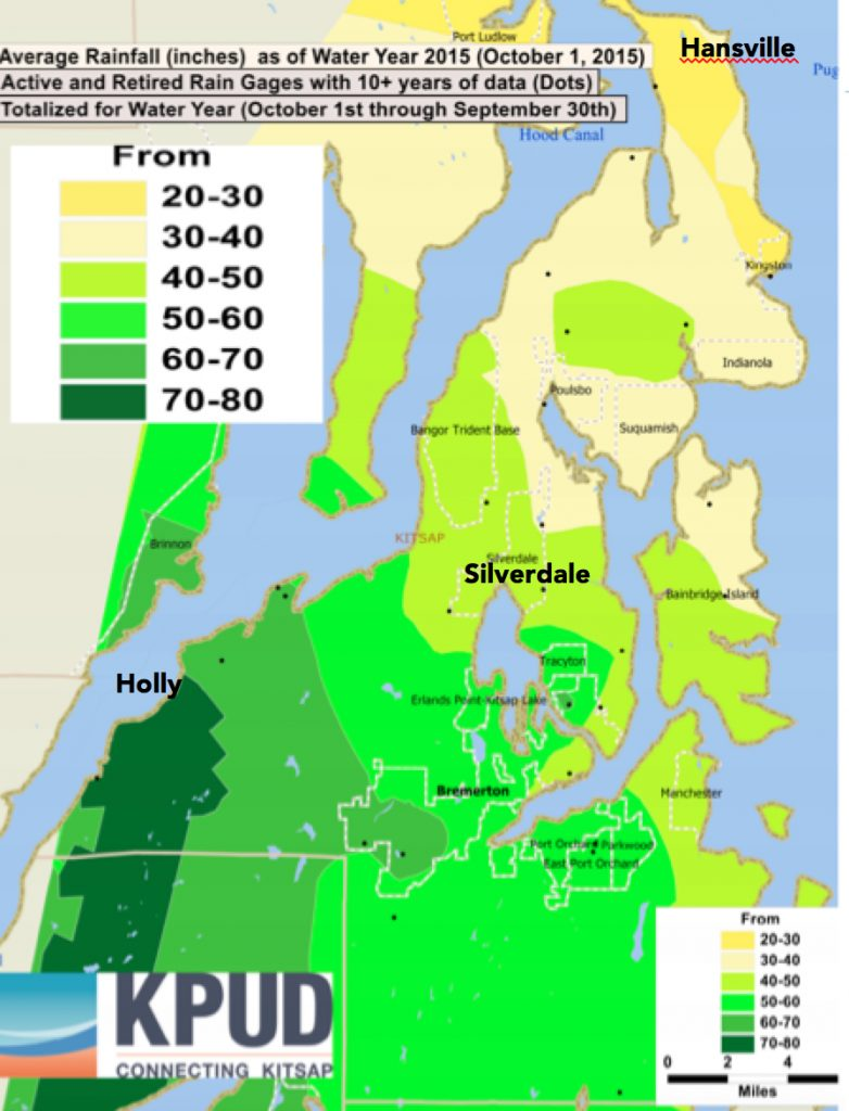 This map of annual rainfall on the Kitsap Peninsula was refashioned from a map by Kitsap Public Utility District