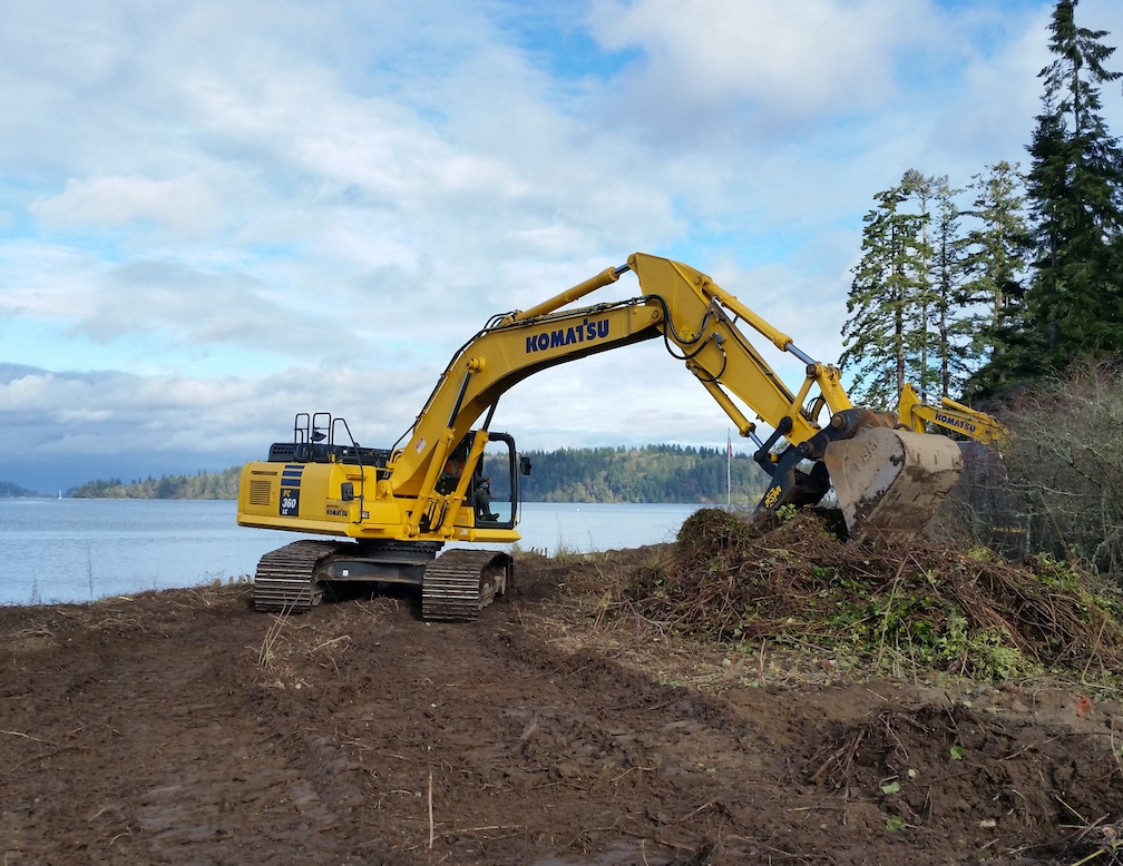 Work began today on access roads for the Harper Estuary restoration project. Photo: Doris Small, WDFW