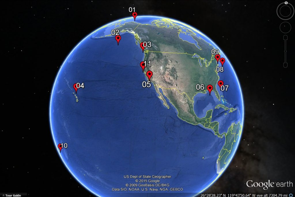 Sounds ranging from whale calls and volcanoes to cargo ships and airguns are monitored by the Pacific Marine Environmental Laboratory with the help of 11 Ocean Noise Reference Stations from Alaska to the South Pacific. Graphic: NOAA's Pacific Marine Environmental Laboratory